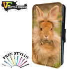 CUTE FURRY FLUFFY BUNNY RABBIT - LEATHER FLIP WALLET PHONE CASE COVER