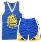 Внешний вид - Kid Basketball Jersey Short Set - Blue #30 Stephen Curry  Golden State Warriors