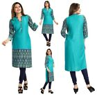 UK STOCK - WOMEN FASHION INDIAN KURTA KURTI TUNIC TOP SHIRT COTTON BLUE SC2467