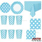 Baby Blue Colour Polka Dot Disposable TABLEWARE Catering Girls Birthday Party