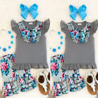 US Toddler Kids Baby Girls Flower Cotton Tops T-shirt Shorts