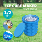 1/2 PC Genie Space Saving Ice Cube Maker Bucket Revolutionary  Holder Silicone