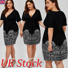 Uk Plus Size Womens Summer Party Casual Mini Dress Ladies V-neck Cocktail 8 - 24