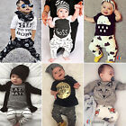 Baby Toddler Boy Clothes Short / Long Sleeve T-shirt Tops + Pants Outfit Set