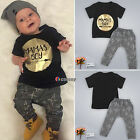 Kids Toddler Infant Baby Boys Girls 2pcs Outfits T-shirt Top + Pants Trouser Set