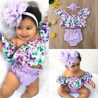US Newborn Baby Girl Clothes Off Shoulder Floral Tops Shorts Headband Outfit Set