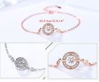 Rose Gold Sterling Silver Moving Halo Cubic Zirconia Chain Bracelet Gift A20