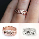 Uk Womens Fashion Jewelry 14k Flower Wedding Rings Rose Gold Silver Ring Band