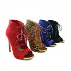 Women's Blue Open Toe Lace Up Ankle Bootie Stiletto High Heel Shoes