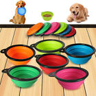 1X Collapsible Portable Travel Dog Cat Pet Bowl Silicone Food Water Small Puppy