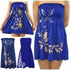 Ladies Plus Size Royal Blue Leaves Butterfly Sheering Strapless Boob Tube Tops
