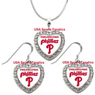 Philadelphia Phillies 925 Necklace / Earrings or Set Team Heart With Rhinestones on Ebay