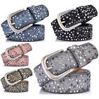 Women's Handcrafted Star Rivets Punk Rock Metal Buckle Genuine Leather Jean Belt
