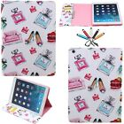 For iPad Mini 1 2 3 4 Magnetic Cute Painted Stand Leather Card Wallet Case Cover