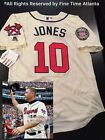 NEW Chipper Jones Atlanta Braves Men's Cream 2018 Hall of Fame Patch Jersey