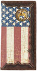 Shriner Distressed American Flag Long Leather Rodeo Wallet