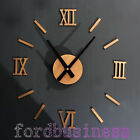 DIY Wall Clock 3D Roman Stickers Hours Modern Art Watch Metallic Gold Silver 20