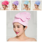 Shower Caps Absorbent New Bow Coral Fleece Thick Towel Hood Hair Dryer For Women