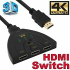 4K 1080P 3 Port HDMI HDTV Auto Switch Switcher Selector Splitter Adapter Cable