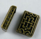100 Silver-Bronze Tone 5holes Rectangle Spacers 16.5x12x4.5mm 672