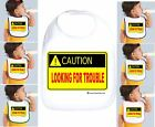 Rabbit Skins Infant Cotton Snap Bib Caution Looking for Trouble