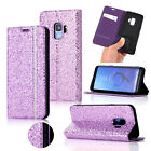 For Galaxy S8/S9 Bling Glitter Sparkle Leather Flip Wallet Card Stand Case Cover