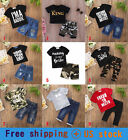 Toddler Kids Baby Boys Tops T-shirt Pants Trousers Bodysuit Outfits Clothes Sets