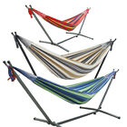 Portable Double Hammock with Sturdy Steel Folding Stand Travel Camping Swing Bed
