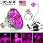 100W 60W LED Grow Light Full Spectrum UV IR Hydroponics Plants Growing Lamp