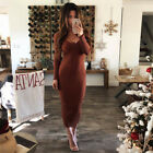 Fashion Women's V Neck Long Sleeve Bodycon Casual Party Evening Cocktail Dress