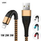 1/2/3M Braided Aluminum Lightning iOS Data&Sync Charger Cable For iPhone X 8 7 6