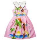 Dress For Girls Kids Moana Cosplay Costume Peter Pan Collar Sleeveless Jumper