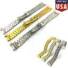 20MM Curved End Watch Band Solid Stainless Steel Strap President Style Bracelet image