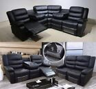 Valencia Corner Sofa 3 + 2 Seater Sofa Black Leather Recliner With Drinks Holder
