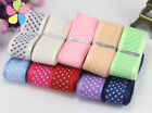 """5yards/12yards 1"""" 25mm Width Dot Printed Organza Lace Ribbon for Packing and Bow"""