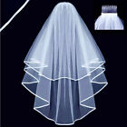 1.5M Veil 2T Wedding Bridal Veil Satin Edge With Comb Elbow Elegant Cathedral SV