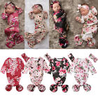 US Cute Baby Girl Flower Swaddle Wrap Blanket Long Sleeve Sleeping Bag+Headband