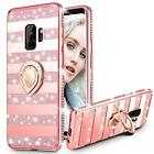 For Samsung Galaxy S9 Case Heavy Duty Protective Cover Women Bling Diamond Rose