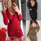 Uk Women Party Casual V-neck Long Sleeve Bodycon Mini Dress Ladies Sexy Clubwear