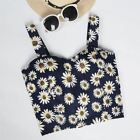 Women Floral Crop Top Camisole Dill Tank Top Cropped Feminino Summer  Black Cami