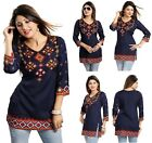 WOMEN SHORT DRESS PRINTED KURTA KURTI TOP TUNIC 3/4 SLEEVES MI521 BLUE