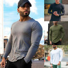 Mens Gym Slim Fit Long Sleeve Fitness Muscle Tee Sport T-Shirt BodyBuilding Tops image