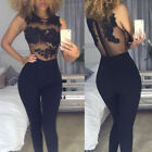 Summer Women Sleeveless Lace Mesh Jumpsuit Bodycon Party Romper Long Trousers