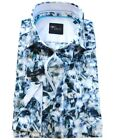Venti Black Label Slim Fit Langarmhemd in blau weiss Floraldessin Gr. 40 bis 48