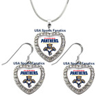 Florida Panthers 925 Necklace / Earrings or Set Team Heart With Rhinestones $14.99 USD on eBay