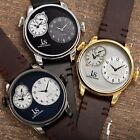 Men's Joshua & Sons Quartz Multifunction Dual Time Stiched Leather Strap watch