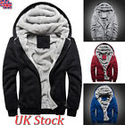 UK Mens Fashion Fur Fleece Hooded Coat Winter Warm Hoodie Jacket Overcoat Zip Up