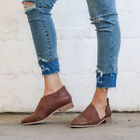 Women Slip On Leather Pointed Toe Gladiator Retro Casual Loafers Flat Shoes Size