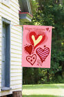 Morigins Pink Love Hearts Happy Valentine's Day Double Sided Garden Flag