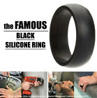 Black Silicone Ring Rubber Wedding Band Flexible for Men Workout Crossfit Male